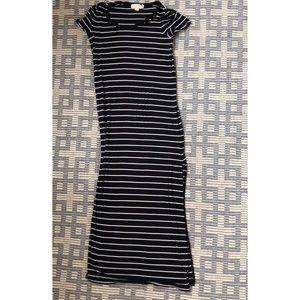 Michael Kors Black & white stripe maxi long dress